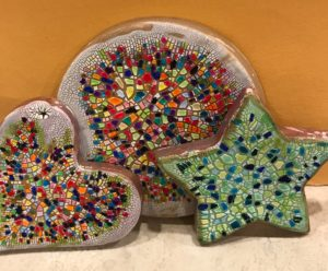 Three clay pieces with the mosaic effect. I like the color scheme of the star quite a lot.